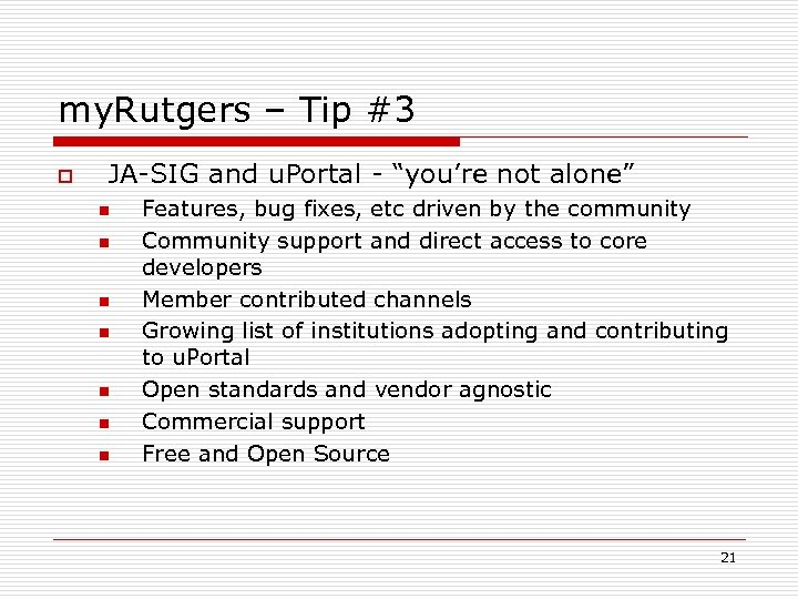 """my. Rutgers – Tip #3 o JA-SIG and u. Portal - """"you're not alone"""""""
