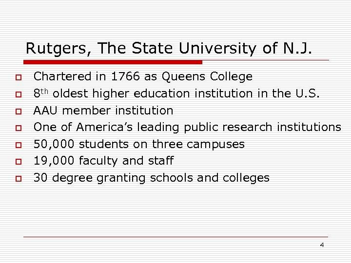 Rutgers, The State University of N. J. o o o o Chartered in 1766