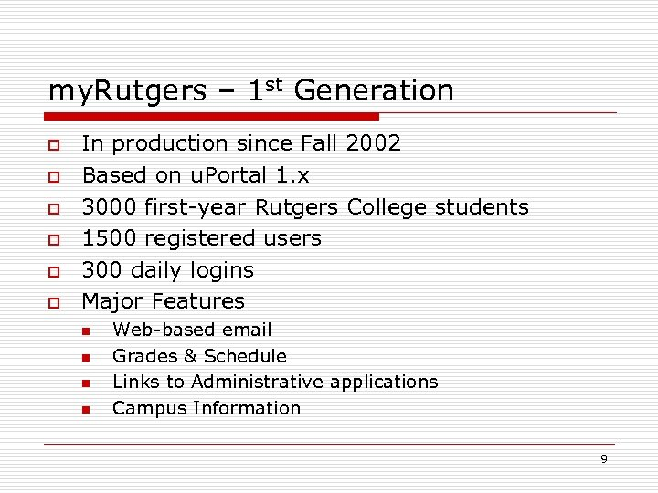 my. Rutgers – 1 st Generation o o o In production since Fall 2002
