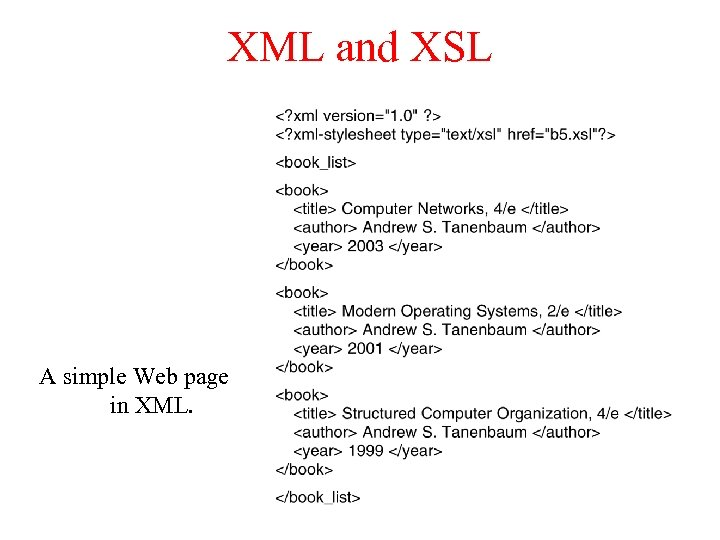 XML and XSL A simple Web page in XML.