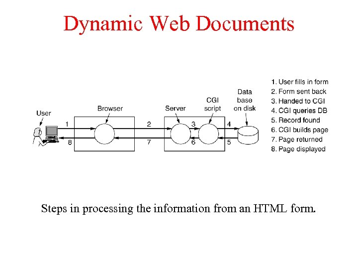 Dynamic Web Documents Steps in processing the information from an HTML form.