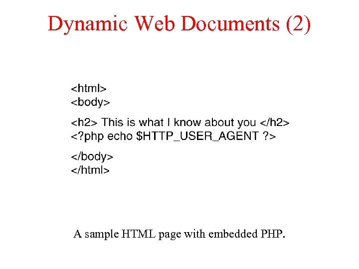 Dynamic Web Documents (2) A sample HTML page with embedded PHP.