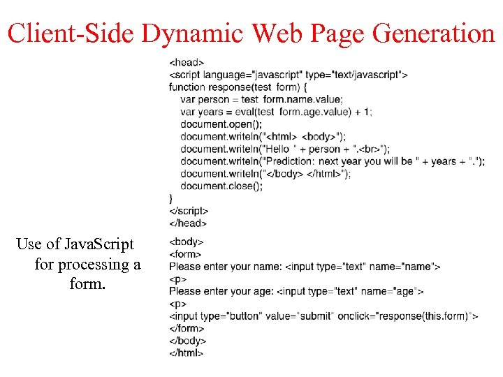 Client-Side Dynamic Web Page Generation Use of Java. Script for processing a form.
