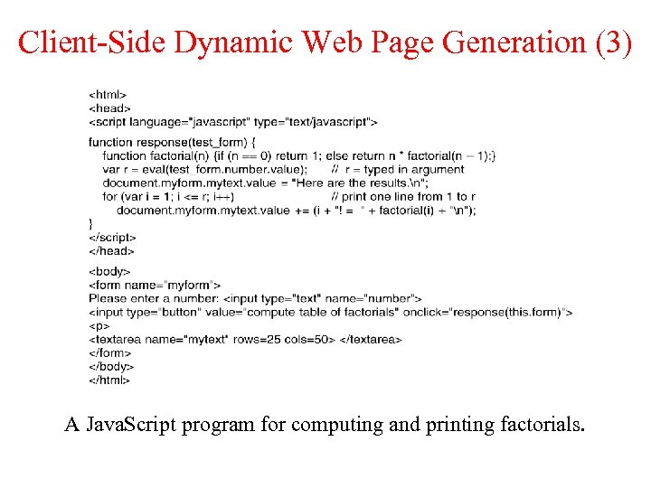 Client-Side Dynamic Web Page Generation (3) A Java. Script program for computing and printing