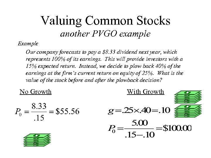 Valuing Common Stocks another PVGO example Example Our company forecasts to pay a $8.