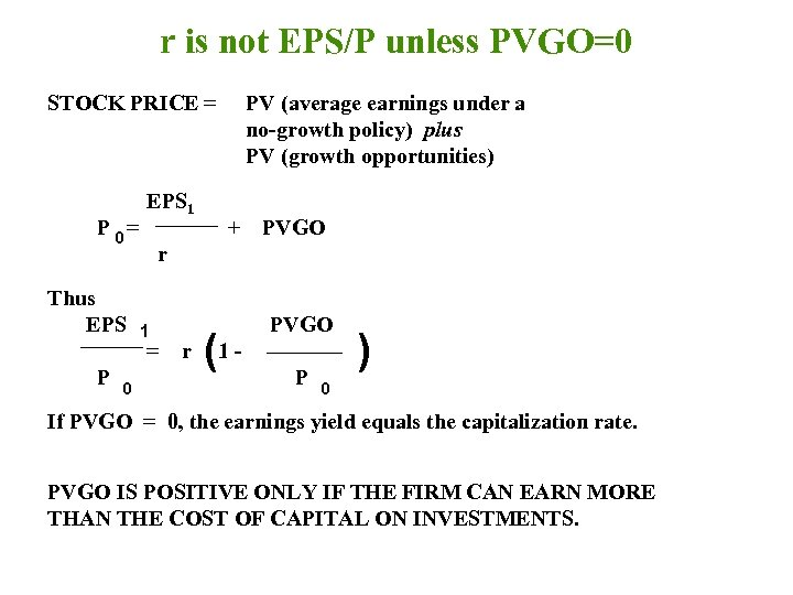 r is not EPS/P unless PVGO=0 STOCK PRICE = P 0= Thus EPS 1