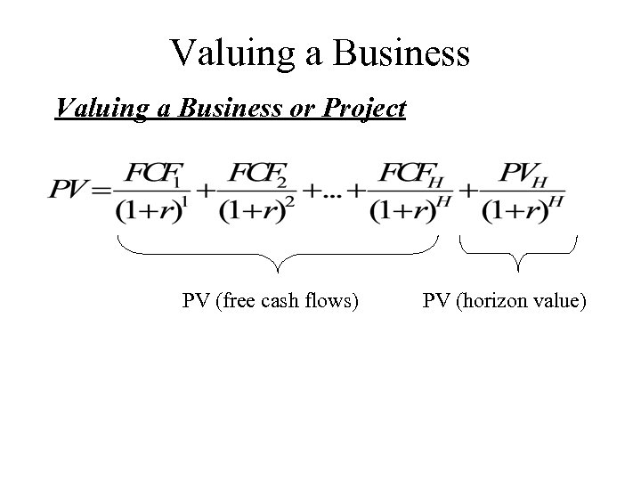 Valuing a Business or Project PV (free cash flows) PV (horizon value)