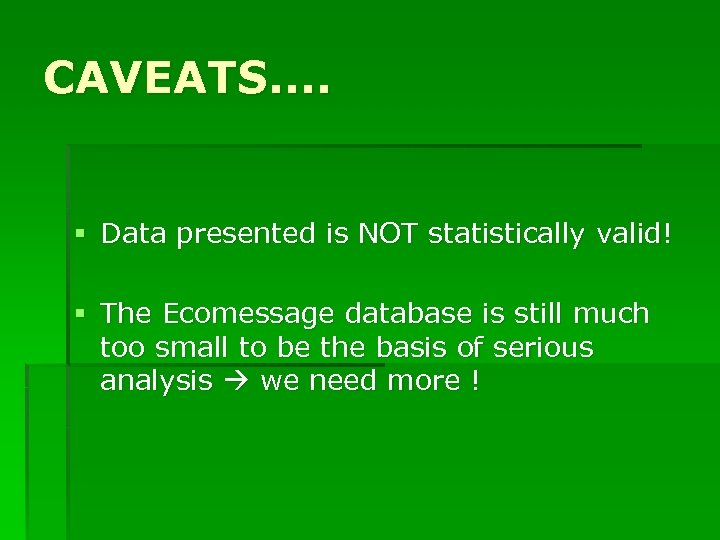 CAVEATS. . § Data presented is NOT statistically valid! § The Ecomessage database is
