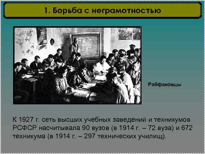 1. Борьба с неграмотностью Рабфаковцы К 1927 г. сеть высших учебных заведений и техникумов