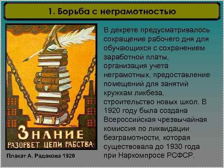 1. Борьба с неграмотностью Плакат А. Радакова 1920 В декрете предусматривалось сокращение рабочего дня