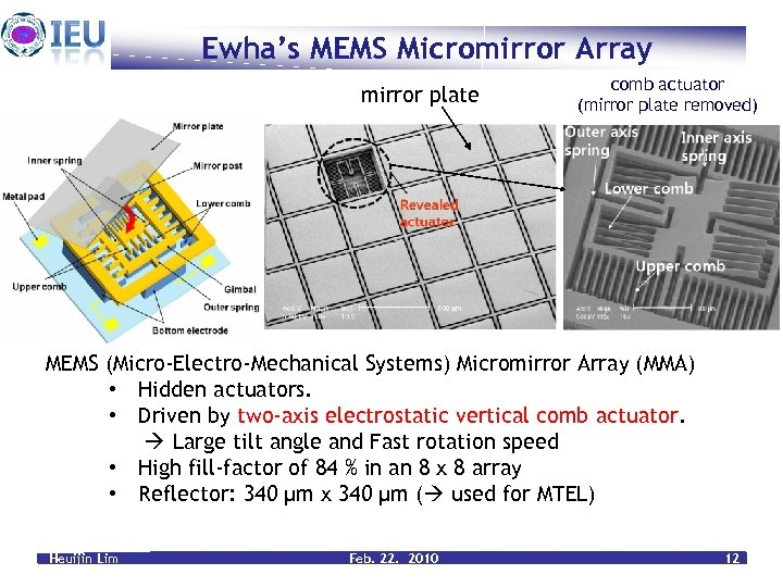 Ewha's MEMS Micromirror Array mirror plate comb actuator (mirror plate removed) MEMS (Micro-Electro-Mechanical Systems)