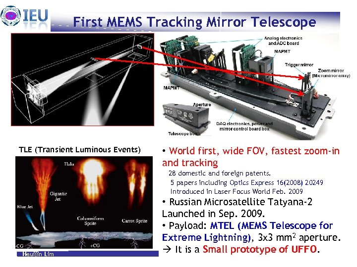 First MEMS Tracking Mirror Telescope TLE (Transient Luminous Events) • World first, wide FOV,