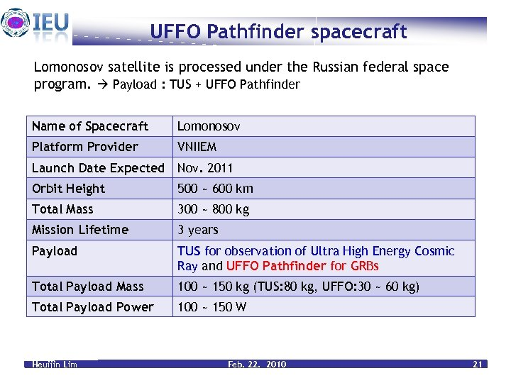 UFFO Pathfinder spacecraft Lomonosov satellite is processed under the Russian federal space program. Payload