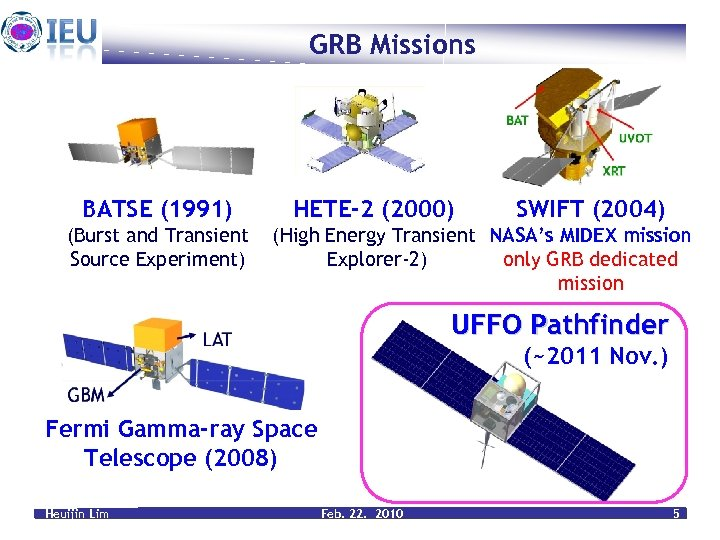 GRB Missions BATSE (1991) (Burst and Transient Source Experiment) HETE-2 (2000) SWIFT (2004) (High