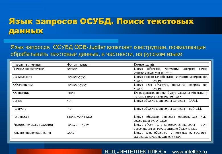 Язык запросов ОСУБД. Поиск текстовых данных Язык запросов ОСУБД ODB-Jupiter включает конструкции, позволяющие обрабатывать