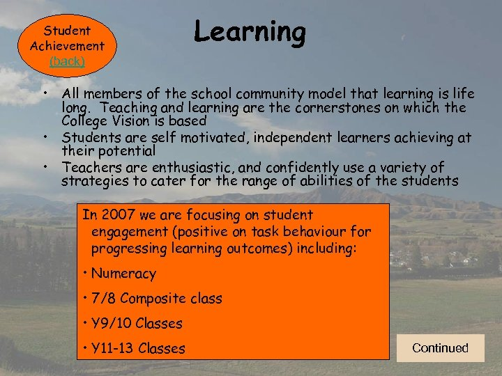Student Achievement (back) Learning • All members of the school community model that learning