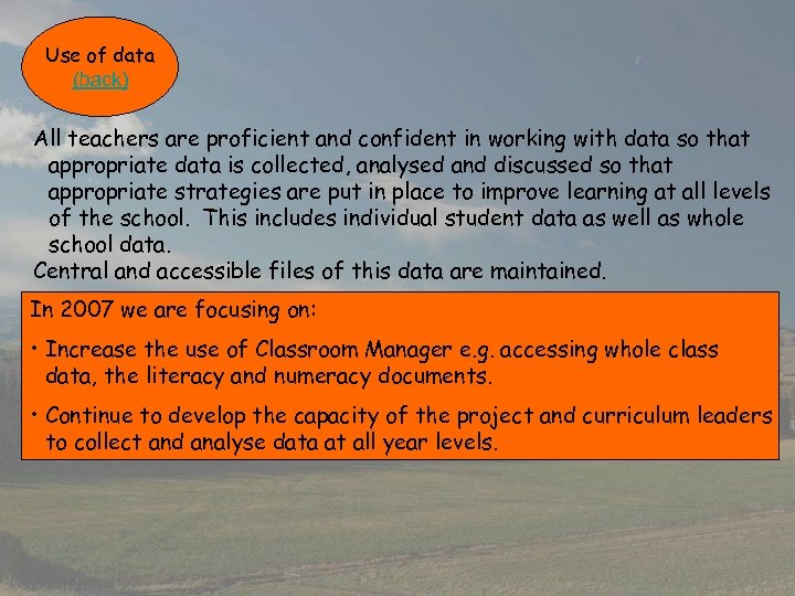 Use of data (back) All teachers are proficient and confident in working with data