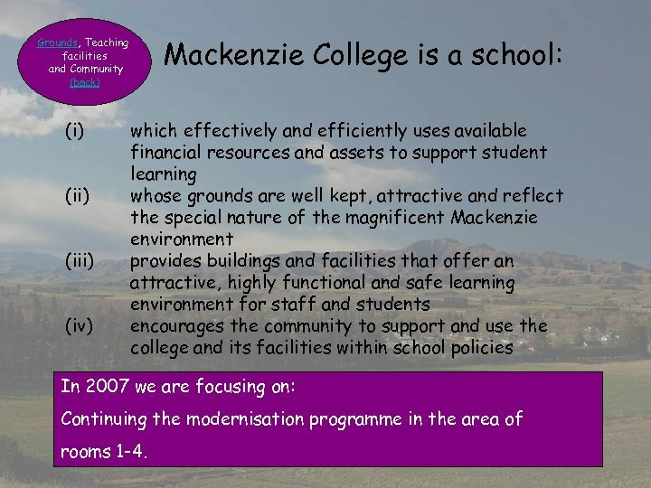 Mackenzie College is a school: Grounds, Teaching facilities and Community (back) (ii) (iii) (iv)