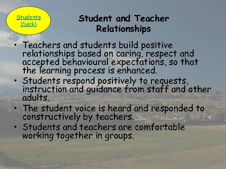 Students (back) Student and Teacher Relationships • Teachers and students build positive relationships based