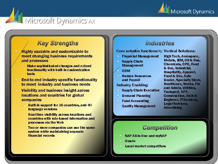 Key Strengths Highly scalable and customizable to meet changing business requirements and processes Make