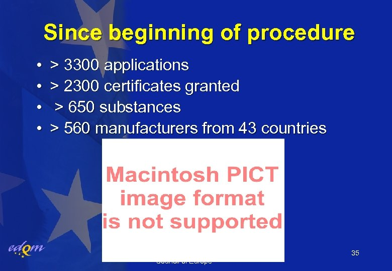 Since beginning of procedure • • > 3300 applications > 2300 certificates granted >