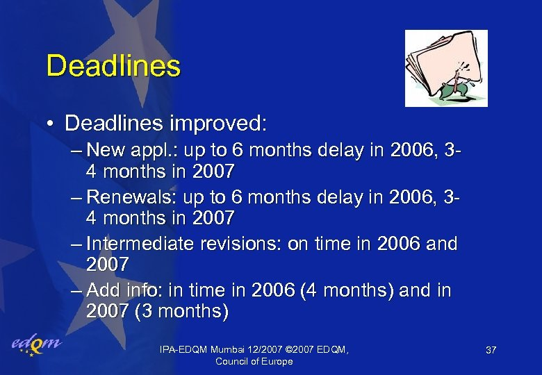 Deadlines • Deadlines improved: – New appl. : up to 6 months delay in