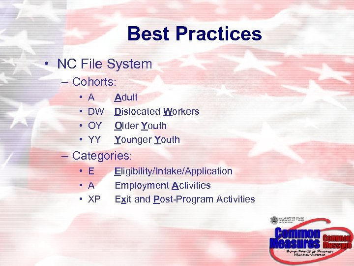 Best Practices • NC File System – Cohorts: • • A DW OY YY