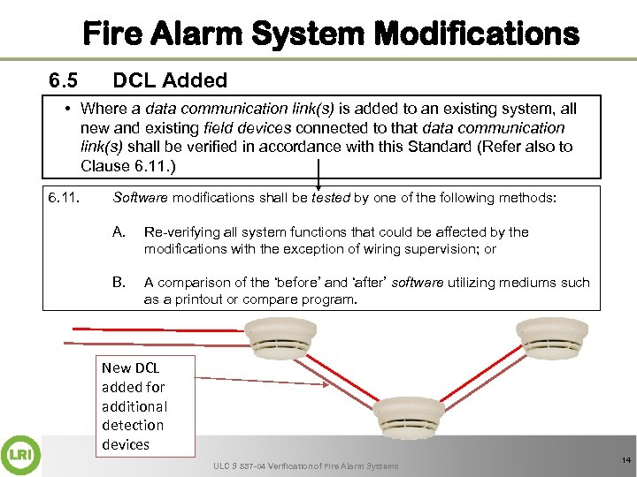 Fire Alarm System Modifications 6. 5 DCL Added • Where a data communication link(s)