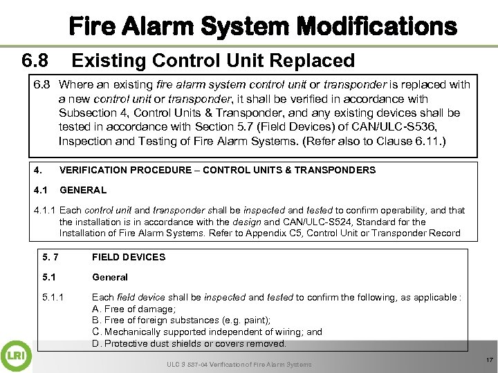Fire Alarm System Modifications 6. 8 Existing Control Unit Replaced 6. 8 Where an