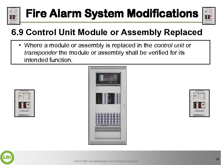 Fire Alarm System Modifications 6. 9 Control Unit Module or Assembly Replaced • Where