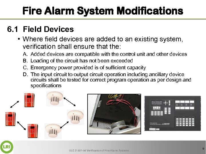 Fire Alarm System Modifications 6. 1 Field Devices • Where field devices are added