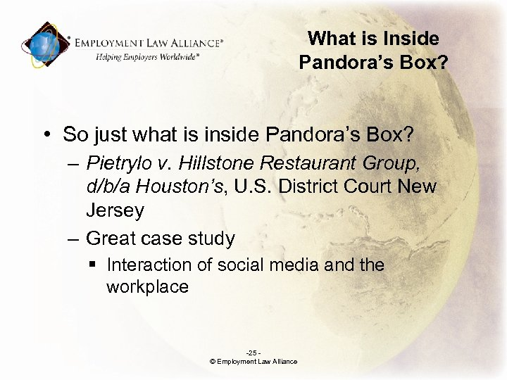What is Inside Pandora's Box? • So just what is inside Pandora's Box? –