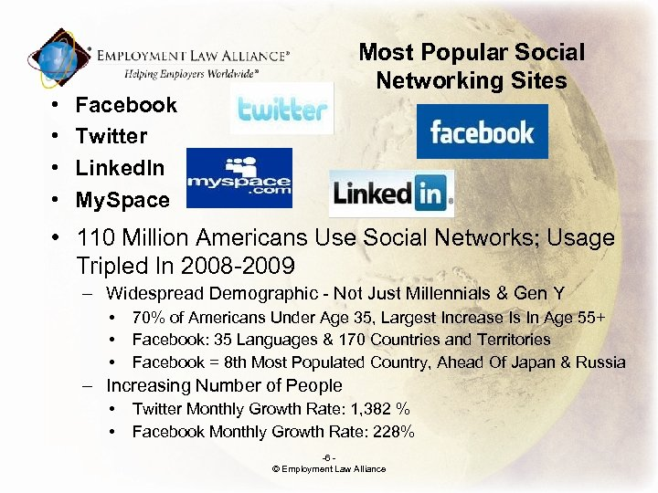 • • Most Popular Social Networking Sites Facebook Twitter Linked. In My. Space