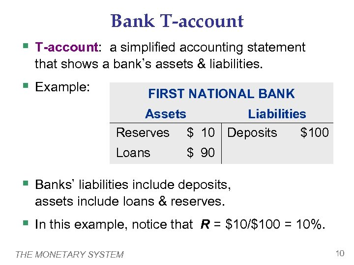 Bank T-account § T-account: a simplified accounting statement that shows a bank's assets &