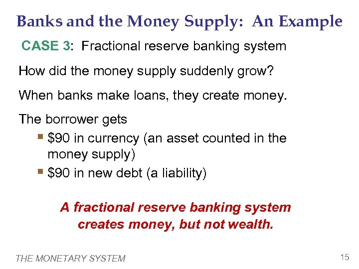 Banks and the Money Supply: An Example CASE 3: Fractional reserve banking system How