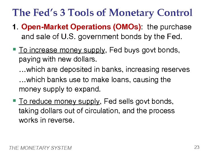 The Fed's 3 Tools of Monetary Control 1. Open-Market Operations (OMOs): the purchase and