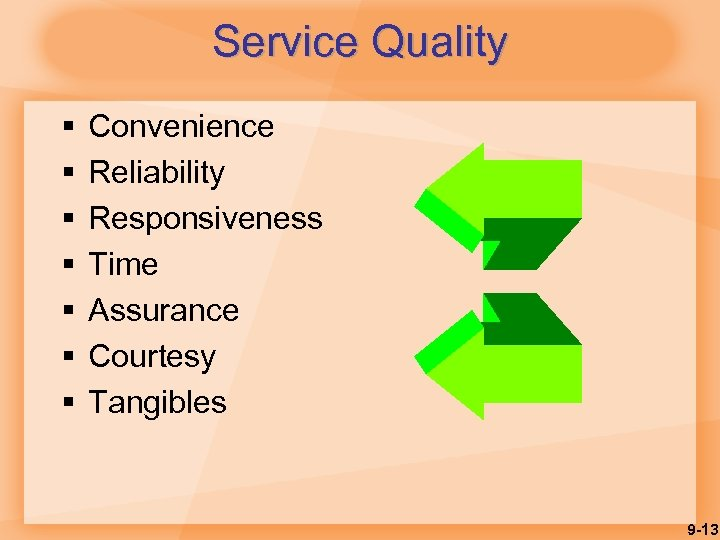 Service Quality § § § § Convenience Reliability Responsiveness Time Assurance Courtesy Tangibles 9