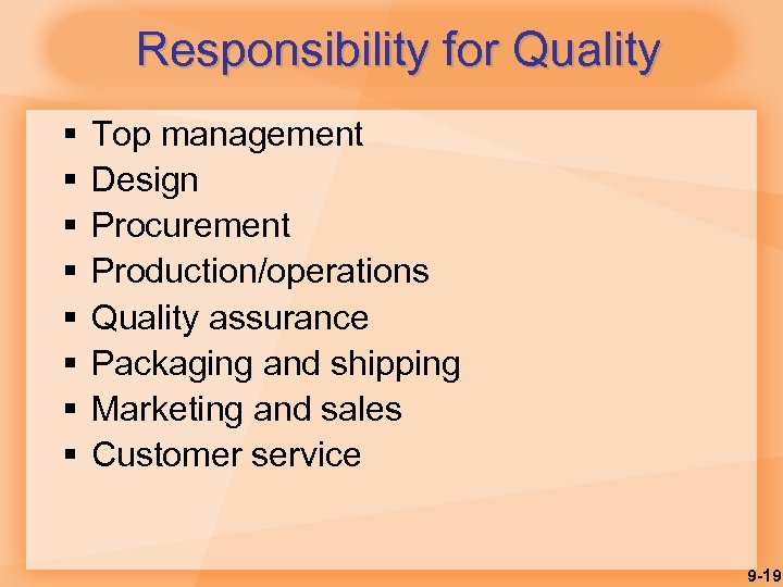 Responsibility for Quality § § § § Top management Design Procurement Production/operations Quality assurance