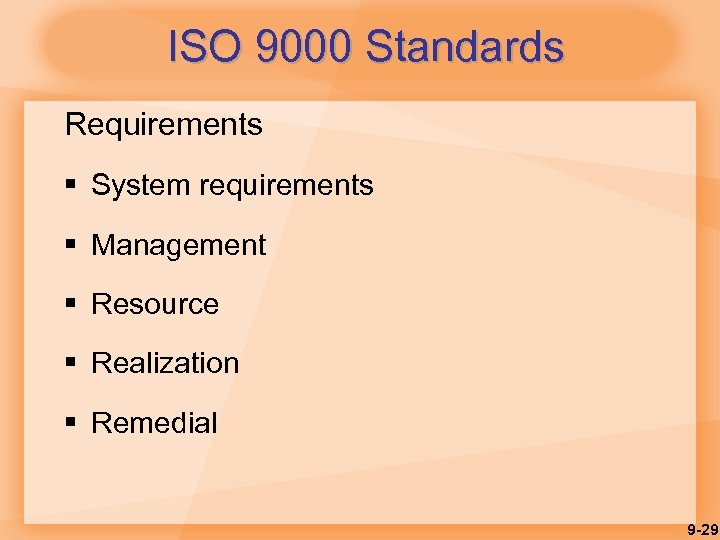 ISO 9000 Standards Requirements § System requirements § Management § Resource § Realization §