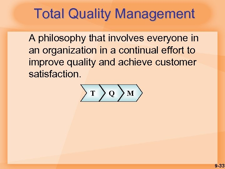 Total Quality Management A philosophy that involves everyone in an organization in a continual