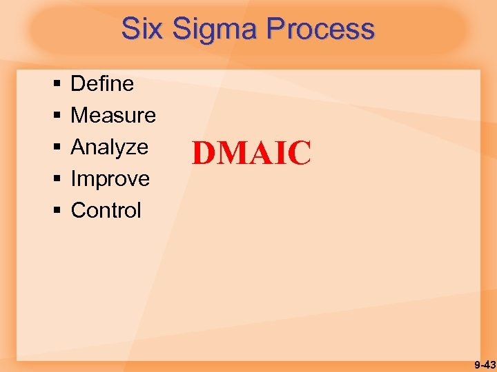 Six Sigma Process § § § Define Measure Analyze Improve Control DMAIC 9 -43