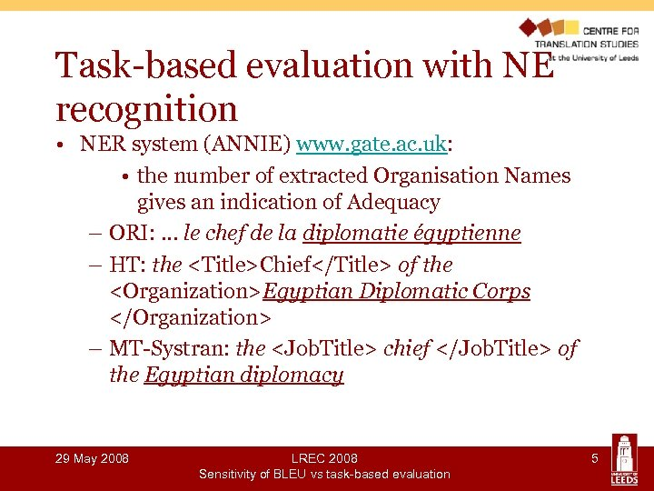 Task-based evaluation with NE recognition • NER system (ANNIE) www. gate. ac. uk: •