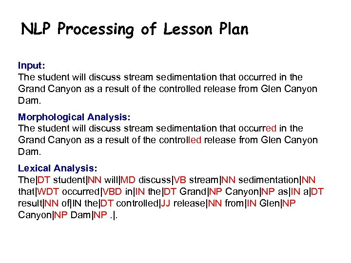 NLP Processing of Lesson Plan Input: The student will discuss stream sedimentation that occurred