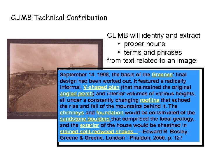 CLi. MB Technical Contribution CLi. MB will identify and extract • proper nouns •