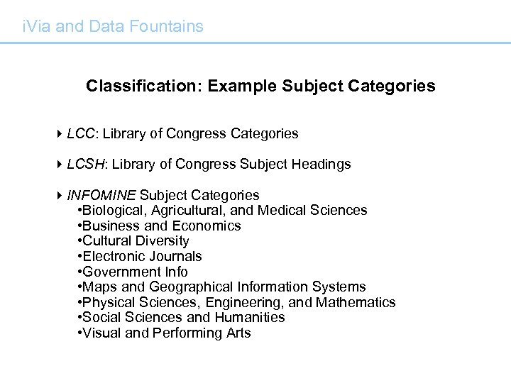 i. Via and Data Fountains Classification: Example Subject Categories 4 LCC: Library of Congress