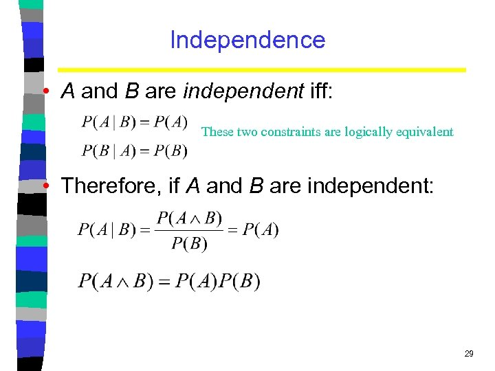Independence • A and B are independent iff: These two constraints are logically equivalent