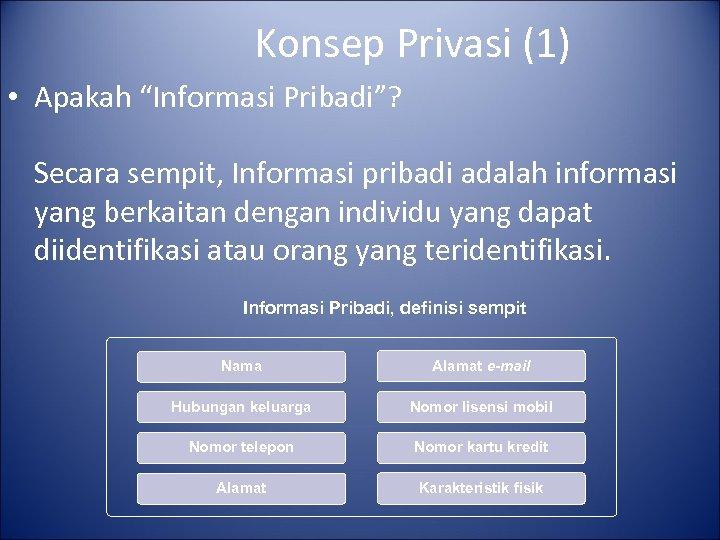 """Konsep Privasi (1) • Apakah """"Informasi Pribadi""""? Secara sempit, Informasi pribadi adalah informasi yang"""