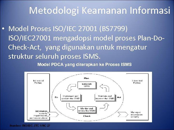 Metodologi Keamanan Informasi • Model Proses ISO/IEC 27001 (BS 7799) ISO/IEC 27001 mengadopsi model