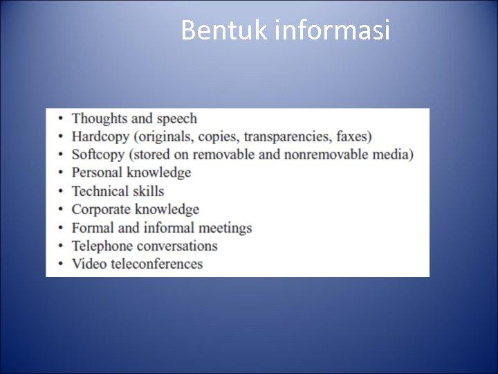 Bentuk informasi