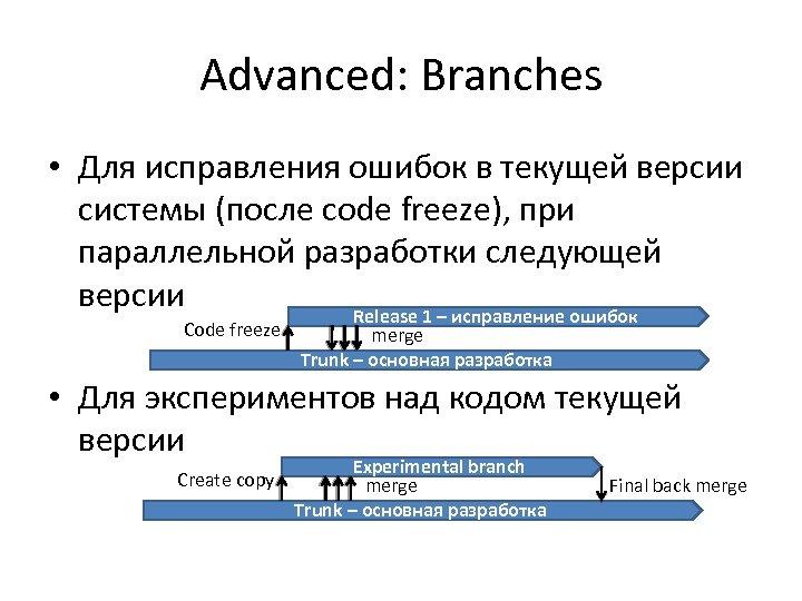Advanced: Branches • Для исправления ошибок в текущей версии системы (после code freeze), при
